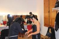 Charo Cecilia y sus alumnas fueron las encargadas de maquillar a las bailarinas.
